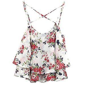 Tops - Floral swing crop top